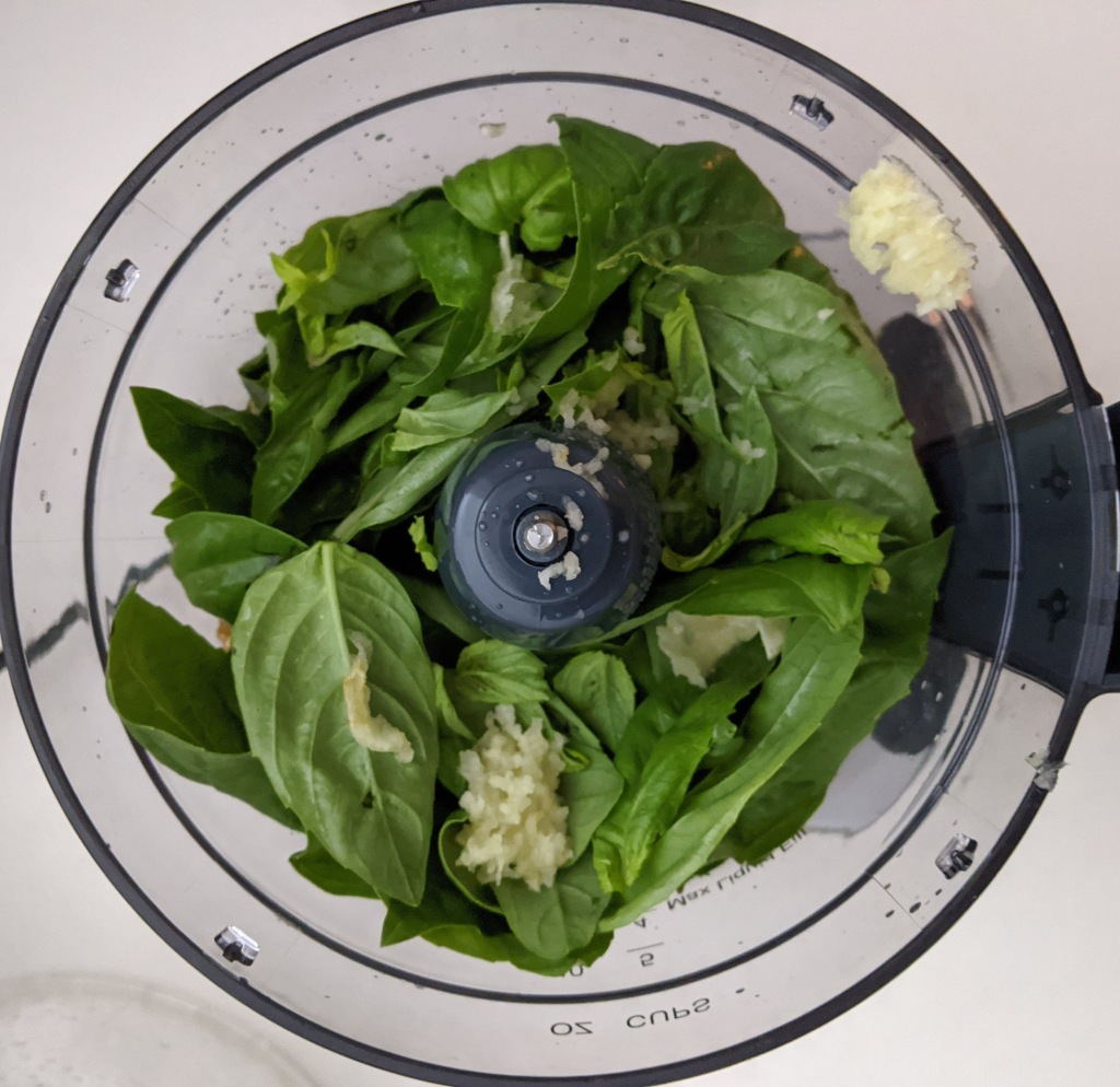 fresh basil and garlic in the bowl of a food processor